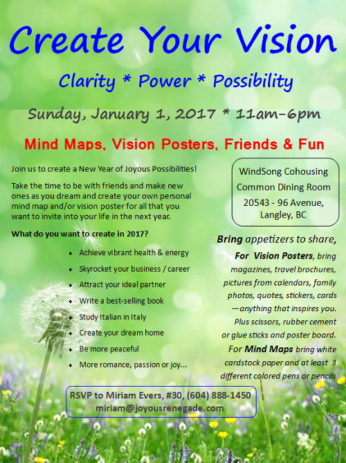 Create Your Vision 2017 Live Workshop Langley BC Poster