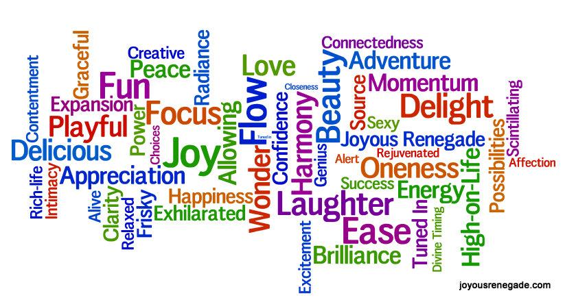 word cloud of joyful words
